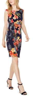 Connected Petite Tropical-Print Side-Ruched Sheath Dress