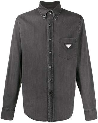 Prada logo plaque denim shirt