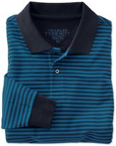Charles Tyrwhitt Slim Fit Navy and Blue Striped Pique Long Sleeve Cotton Polo Size XXL