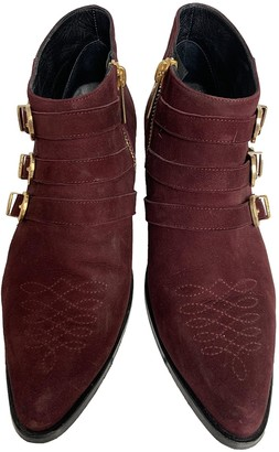 Anine Bing Burgundy Suede Ankle boots