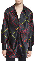 Rag & Bone Edith Silk Satin Plaid Blouse, Black
