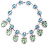 Kenneth Jay Lane Oval pendant glass crystal pavé station necklace