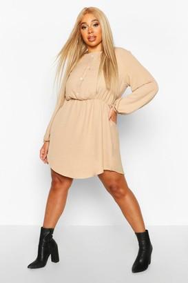 boohoo Plus Linen Button Down Smock Dress