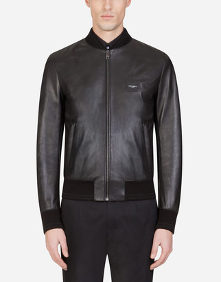 Dolce & Gabbana Leather Jacket With Branded Plate