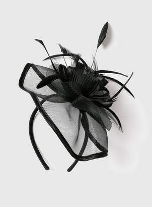 Evans Black Satin Trim Fascinator