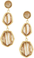 Rivka Friedman 18K Gold Clad Triple Dangle Deco Design Faceted Rutilated Crystal Earrings