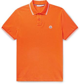 Moncler Slim-Fit Contrast-Tipped Logo-Appliqued Cotton-Pique Polo Shirt