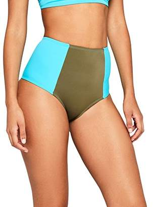 Iris & Lilly Women's Bikini Bottoms High Waist Panelling,Small