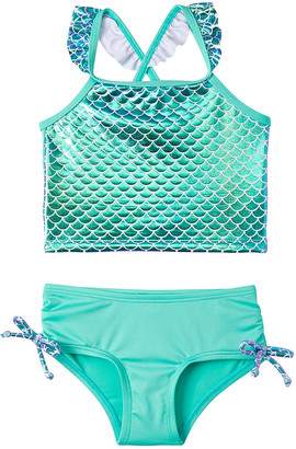 Pink Platinum Girls' Bikini Bottoms SEAFOAM - Seafoam Iridescent Foil Mermaid Ruffle-Trim Tankini - Infant & Toddler