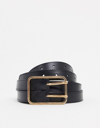 ASOS DESIGN leather double strap waist and hip belt in black