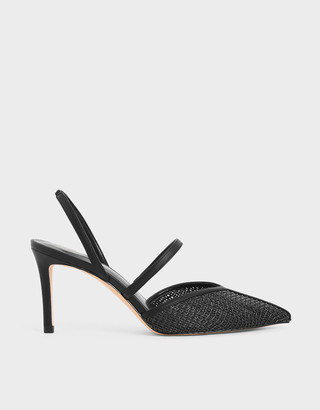 Charles & Keith Woven Mary Jane Slingback Pumps