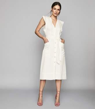 Reiss ENID BUTTON THROUGH SUMMER DRESS Ivory