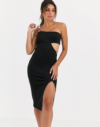 Asos DESIGN exposure cut out asymmetric bodycon midi dress