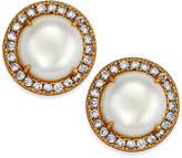 Kate Spade Gold-Tone Pavé & Imitation Pearl Button Earrings