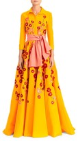 Carolina Herrera Embroidered Floral Silk Trench Gown