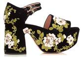 Rochas Floral-embroidered velvet platform sandals