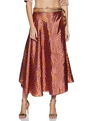 Wild Hazel Vintage Patch Work Skirt Assorted Silk Blend Sari Rapron Women Multi-Color Drawstring ed (SKT512)