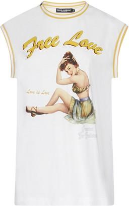 Dolce & Gabbana Free Love Print Sleeveless Top