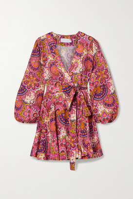 Zimmermann Fiesta Paisley-print Linen Wrap Mini Dress - Pink