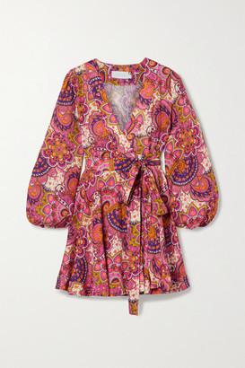 Zimmermann Fiesta Paisley-print Linen Wrap Mini Dress - Pink