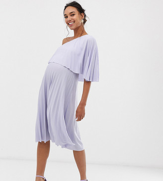 Asos DESIGN Maternity One shoulder pleated midi dress