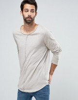 Asos Slub Super Longline Long Sleeve T-Shirt With Raw Seam Detail And Drop Hem In Beige