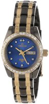 Sartego Women's SCMB66 Classic Analog Metallic Blue Face Dial Two-Tone Swarovski Watch