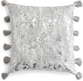 Sky Ines Distressed Metallic Diamond Decorative Pillow, 18 x 18 - 100% Exclusive