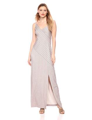 BCBGMAXAZRIA Azria Women's Asymmetrical Stripe Maxi Dress