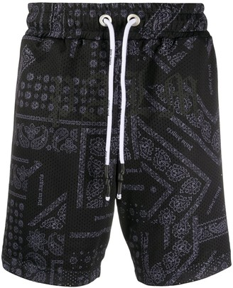 Palm Angels Bandana-Print Drawstring Shorts