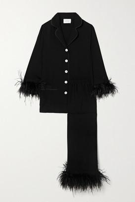 Sleeper Feather-trimmed Crepe De Chine Pajama Set - Black