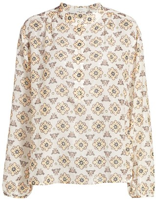 A.L.C. Meghan Printed Voile Henley Top