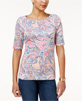 Charter Club Elbow-Sleeve Paisley-Print Top, Only at Macy's