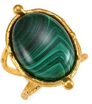 Sylvia Toledano Grande Ovale 22K Goldplated & Malachite Cocktail Ring
