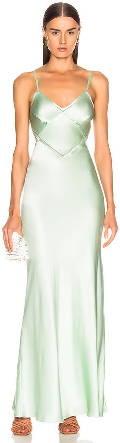 Alberta Ferretti Slip Dress in Green | FWRD