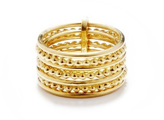 Agnes de Verneuil Line & Pearl Seven-Band Ring - Gold