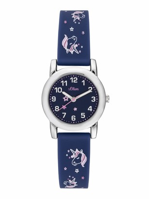 S'Oliver Girls Analogue Quartz Watch with Silicone Strap SO-3915-PQ