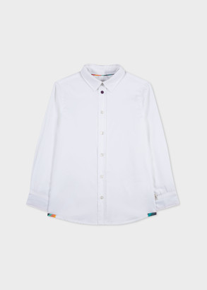 Paul Smith 2-6 Years White Cotton Shirt With 'Artist Stripe' Cuff Lining