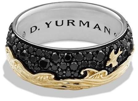 David Yurman Waves Band Ring with 18K Gold & Black Diamonds