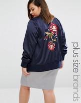 Alice & You Oversized Rose Embroidered Bomber Jacket