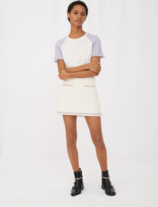 Maje Jersey T-shirt with tweed sleeves