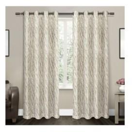 "Exclusive Home Oakdale Motif Textured Sheer Linen Grommet Top Curtain Panel Pair, 54"" x 84"""