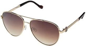 Jessica Simpson Metal Aviator Embossed Temple (Gold/Tortoise) Fashion Sunglasses