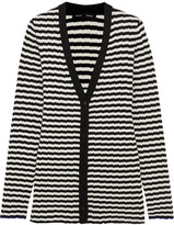 Proenza Schouler Striped Ribbed Silk And Cashmere-blend Cardigan - Black