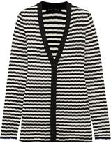 Proenza Schouler Striped Ribbed Silk And Cashmere-blend Cardigan - Black