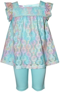 Blueberi Boulevard Baby Girls 2-Pc. Rainbow Lace Top & Shorts Set