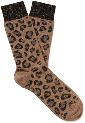 Versace Leopard-Jacquard Cotton Socks