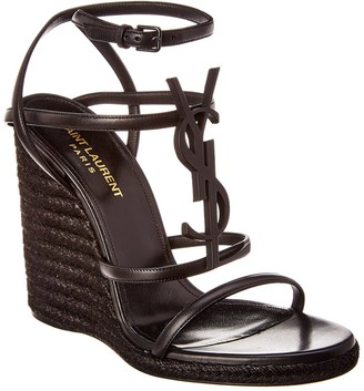 Saint Laurent Cassandra 110 Leather Wedge Sandal