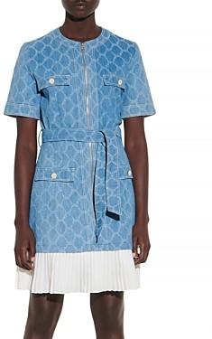 Sandro Kayle Denim Pleated-Skirt Mini Dress