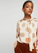 MANGO Bow polka-dot blouse